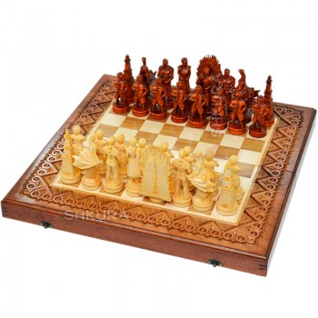 """Резные шахматы 3 в 1 """"Игра престолов"""". 50х50 см. Медь"""