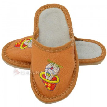 Кожаные тапочки для детей 03. Оранжевые