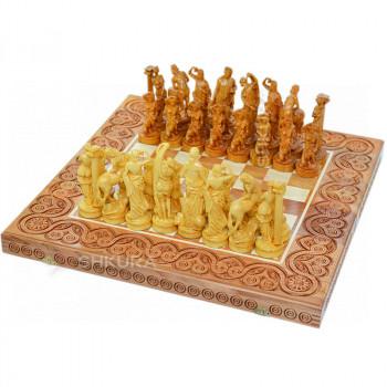 """Деревянные шахматы 3 в 1 """"Древняя Греция"""". 55х55 см. Светлые"""