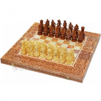 """Деревянные шахматы 3 в 1 """"Пираты Карибского моря"""". 55х55 см. Светлые"""