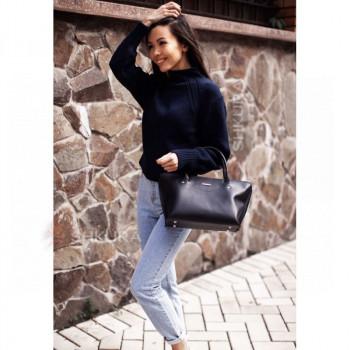 Женская кожаная сумка Midi темно-синяя
