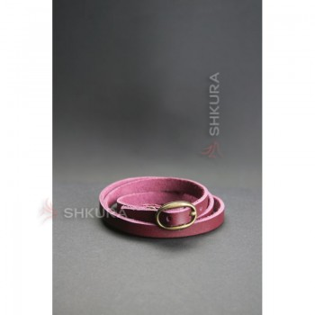 Женский кожаный браслет лента с пряжкой бордовый