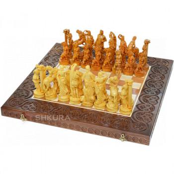 """Деревянные шахматы 3 в 1 """"Древняя Греция"""". 55х55 см. Темные"""
