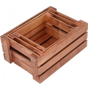 Набор деревянных ящиков, 3 шт. Вишня