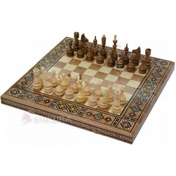 Резные шахматы 3 в 1, 50х50 см. Мозаика