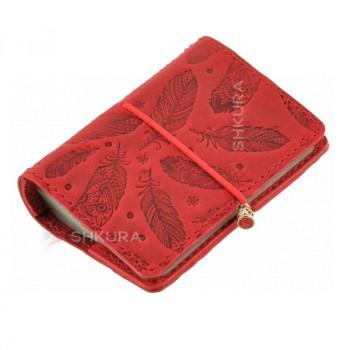 Женский кожаный кард-кейс 7.0 коралловый с перьями
