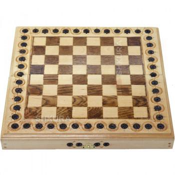 Шахматная доска, 32х32 см. Инкрустация, светлые