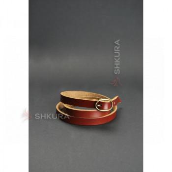 Кожаный браслет лента с пряжкой светло-коричневый