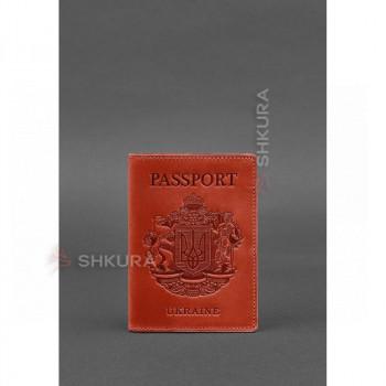 Женская кожаная обложка для паспорта коралловая с украинским гербом
