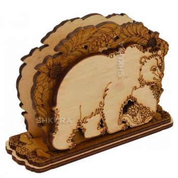 Деревянная салфетница 20. Медведь