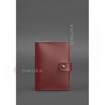 Женская кожаная обложка для паспорта 5.0 (с окошком) бордовая Краст
