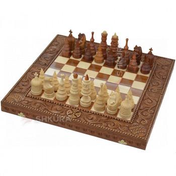 "Шахматы ""Гуцульщина"" 50х50 см. Красное дерево"