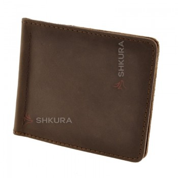 Мужское кожаное портмоне темно-коричневое 1.0 зажим для денег