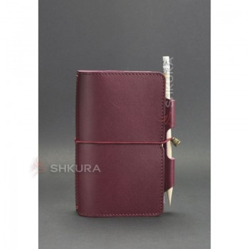Женский кожаный блокнот (Софт-бук) 3.0 бордовый