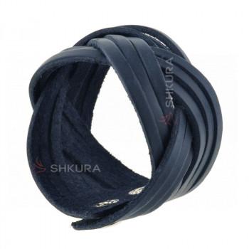Женский кожаный браслет косичка синий