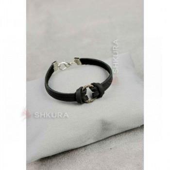 Кожаный браслет с кольцом черный