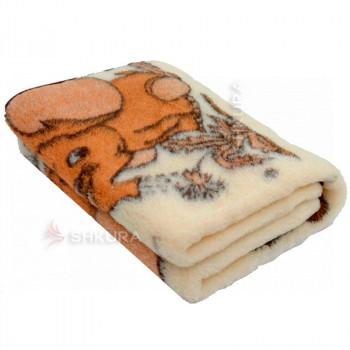 Детское шерстяное одеяло. Слоник, котик