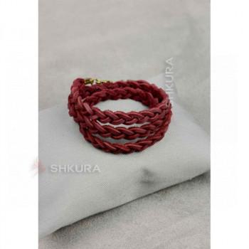 Женский кожаный браслет тонкая косичка бордовый