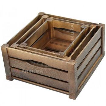 Набор деревянных ящиков. Орех
