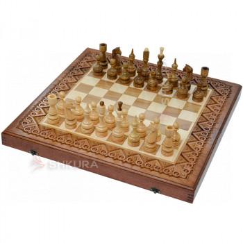 Резные шахматы 3 в 1, 50х50 см. Медь