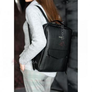 Кожаный женский городской рюкзак на молнии Cooper черный