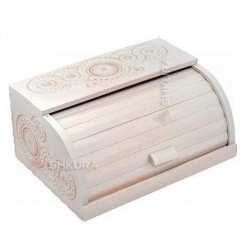 Хлебница деревянная Д03. Резная, белая
