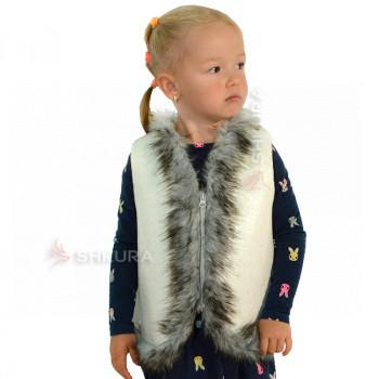 Детская меховая жилетка. Белая