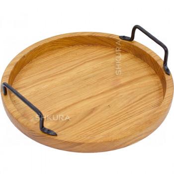 Круглый деревянный поднос