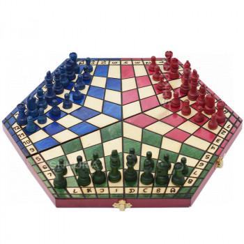 Шахматы на троих, 38х42 см. Цветные