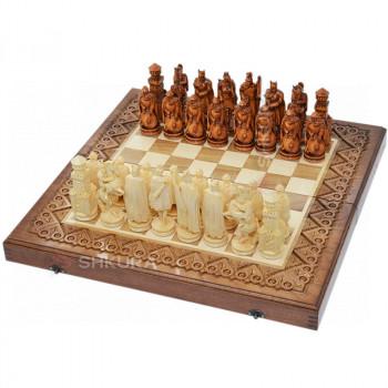 """Резные шахматы 3 в 1""""Рыцари"""" 50х50 см. Медь"""