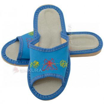 Кожаные тапочки для детей 05. Синие