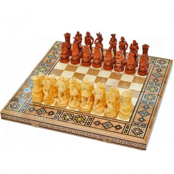 "Резные шахматы 3 в 1""Пираты Карибского моря"" 50х50 см. Мозаика"