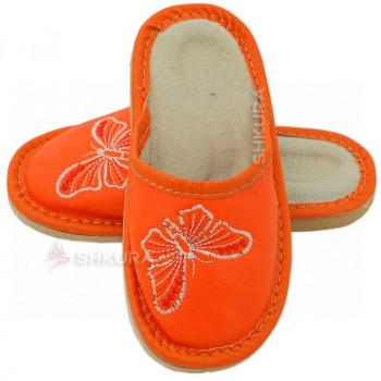 Кожаные тапочки для детей 02. Оранжевые
