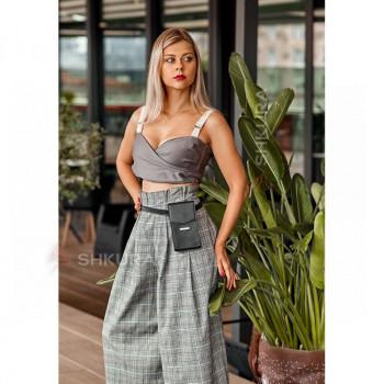 Вертикальная женская кожаная сумка Mini черная поясная/кроссбоди