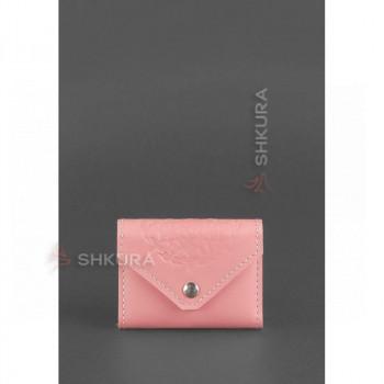 Женский кожаный кард-кейс 3.0 (Гармошка) Розовый с мандалой