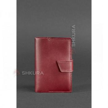 Женская кожаная обложка для паспорта 4.0 бордовая