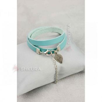 Женский кожаный браслет -лента бирюзовый