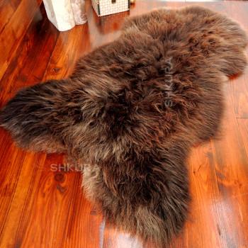 БОЛЬШАЯ коричневая овечья шкура с ворсом средней длины