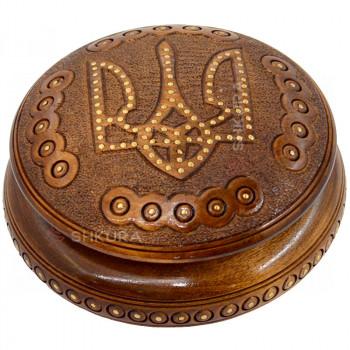 Шкатулка круглая, резная В04. Герб Украины