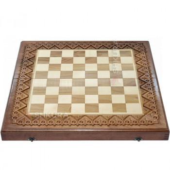 Шахматная доска, 50х50 см. Медная инкрустация