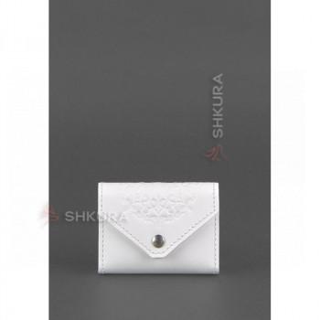Женский кожаный кард-кейс 3.0 (Гармошка) Белый с мандалой