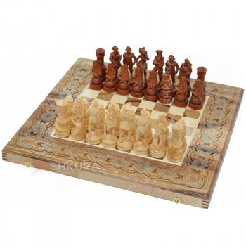 """Шахматы """"Пираты Карибского моря"""" 50х50 см. Бисер+Медь."""