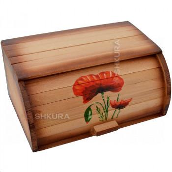 "Хлебница деревянная ""Цветок мака"""