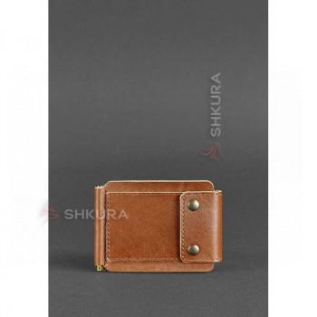Мужское кожаное портмоне светло-коричневое 10.0 зажим для денег