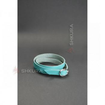 Женский кожаный браслет лента с пряжкой бирюзовый