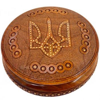 Шкатулка круглая, резная В05. Герб Украины