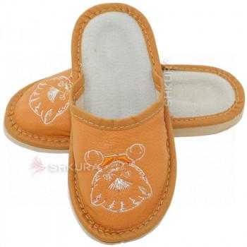 Кожаные тапочки для детей 01. Оранжевые