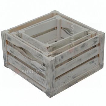 Набор деревянных ящиков, серый