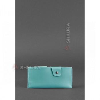 Женское кожаное портмоне-купюрник 8.0 бирюзовое