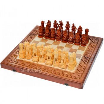 """Резные шахматы 3 в 1""""Пираты Карибского моря"""" 50х50 см. Медь"""